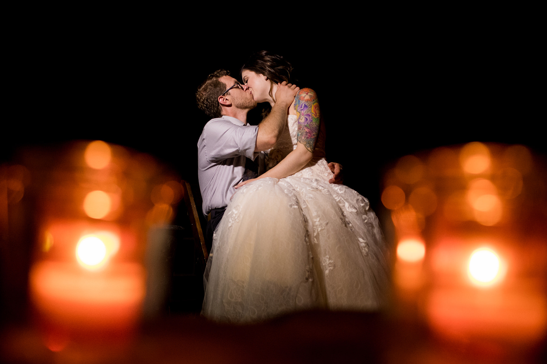 creative night wedding portrait