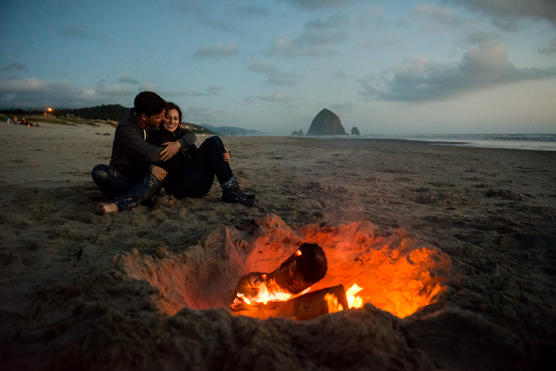 campfire on cannon beach