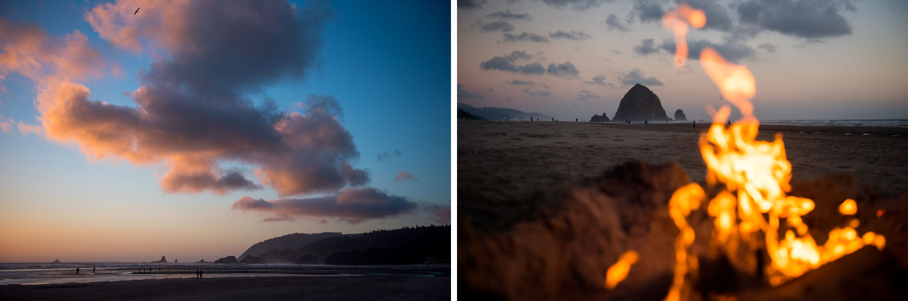oregon coast sunset with campfire