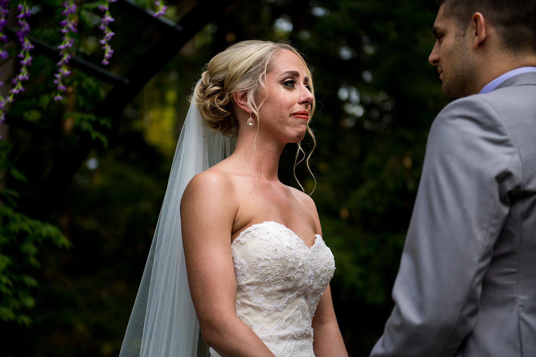 bride tear running down her cheek