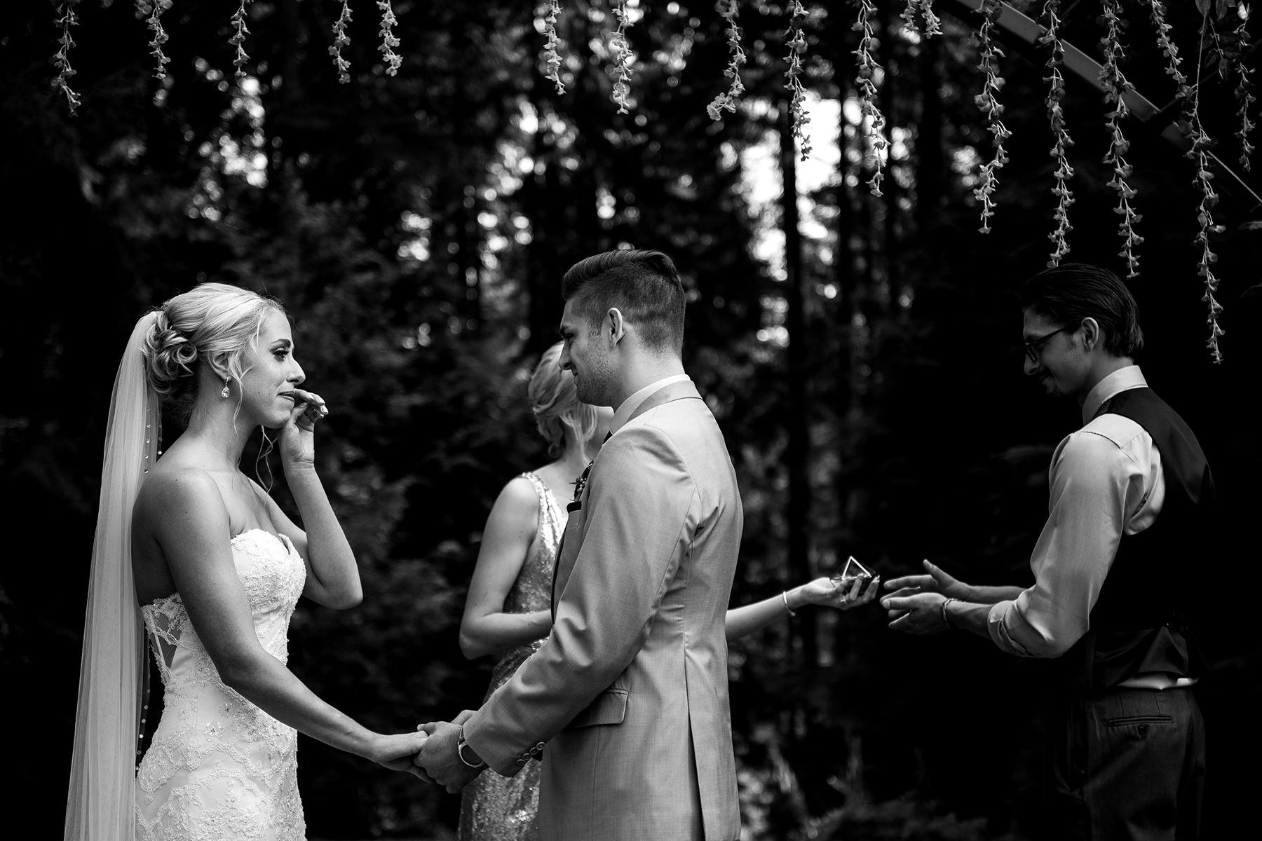 bride wiping away tears