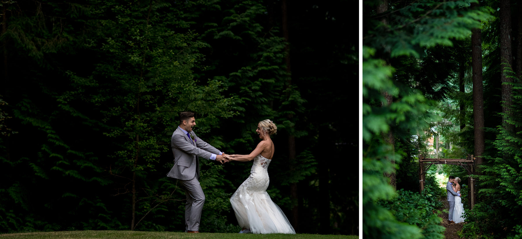 bride and groom wedding portraits in the forest