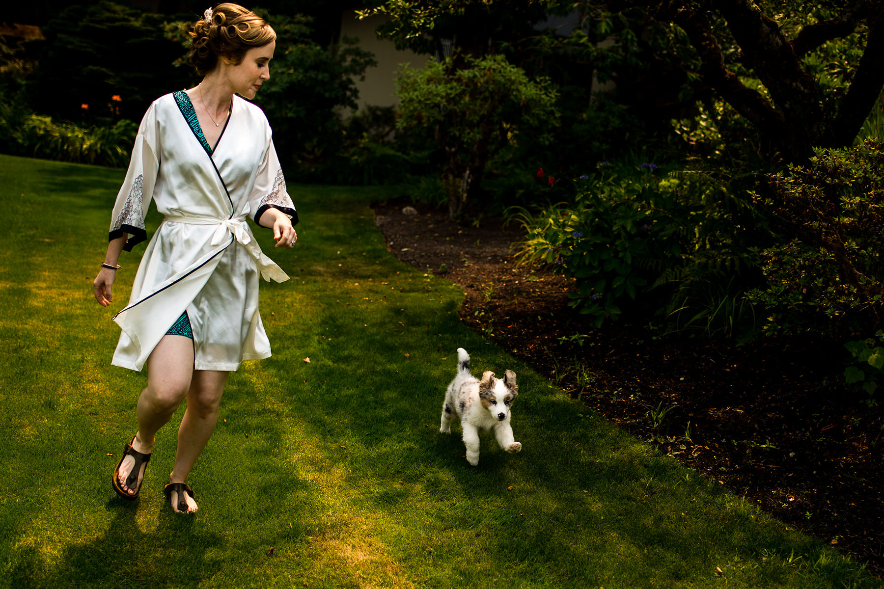 bride and puppy running