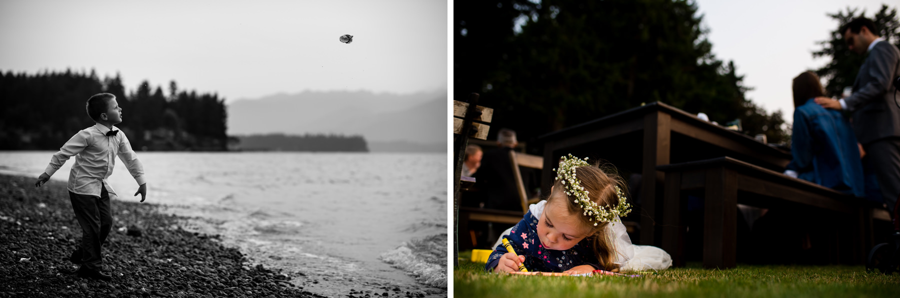 kid throwing shell into hood canal
