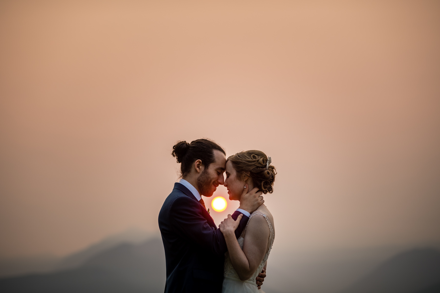 smoky sunset wedding photos