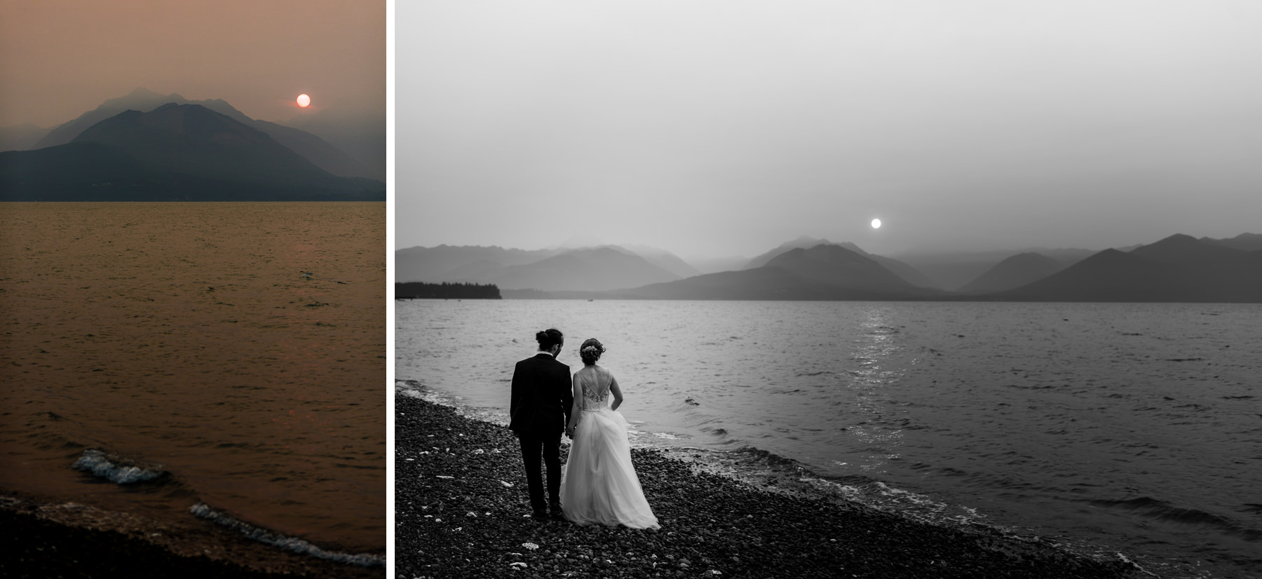 dramatic smoky wedding photos