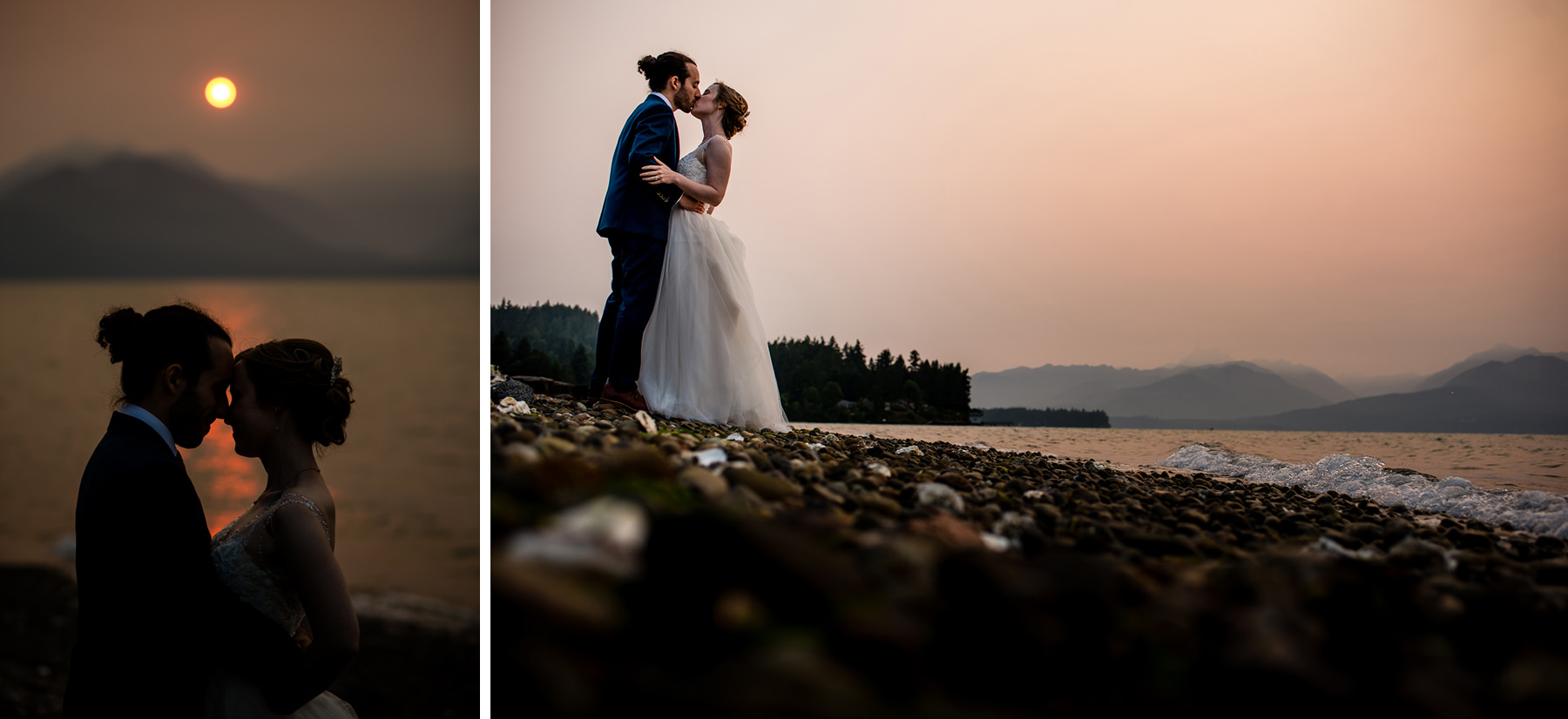 wild fire smoke wedding portraits