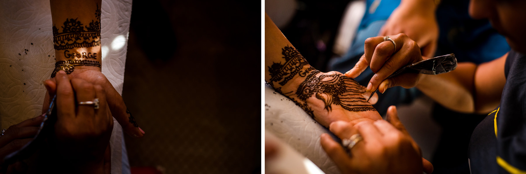 bride getting henna drawn on her hands
