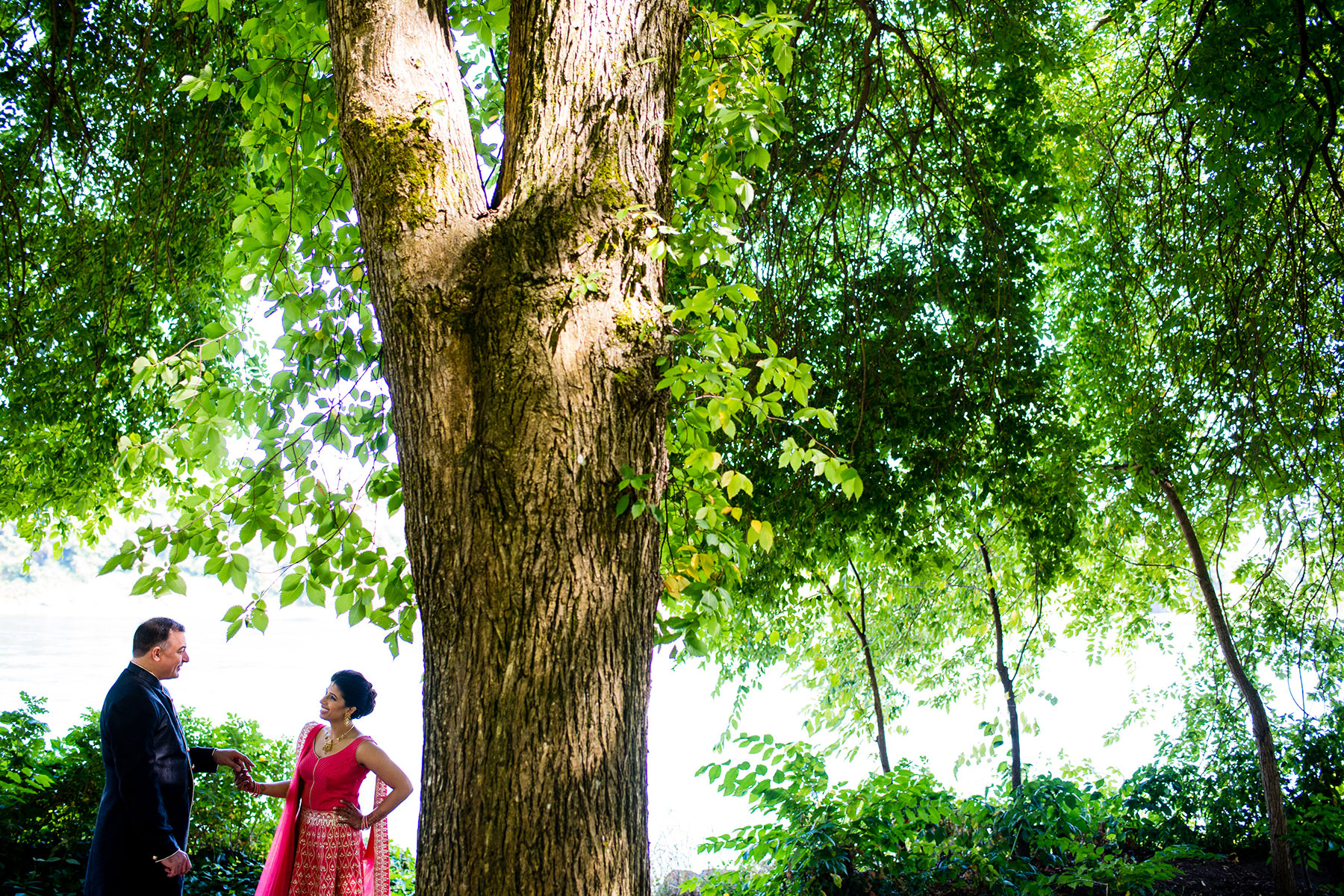 evergreen park wedding portraits