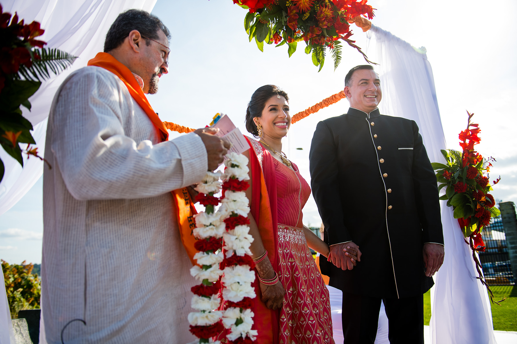 groom and bride on indian wedding alter