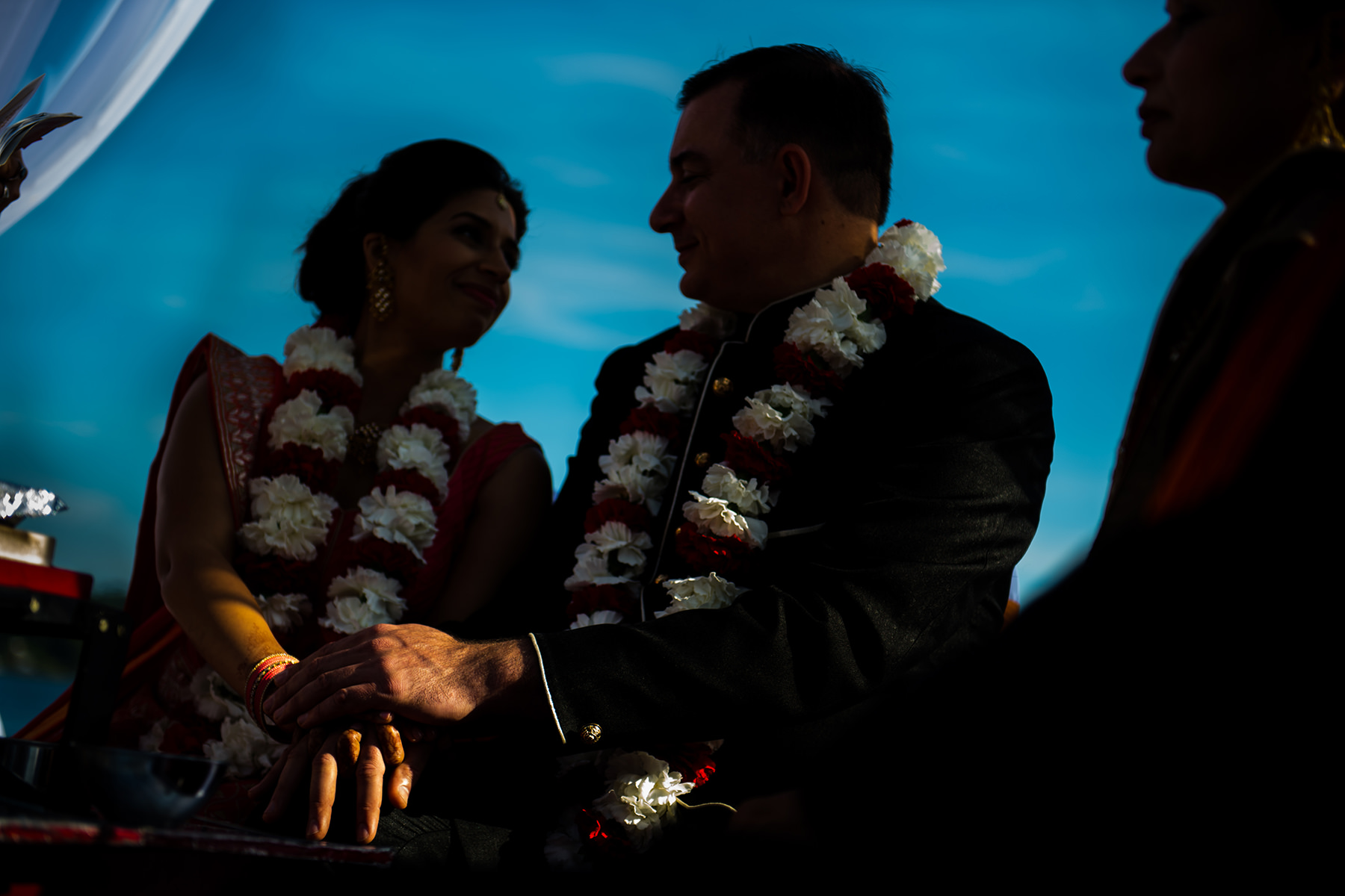 bride and groom during indian wedding