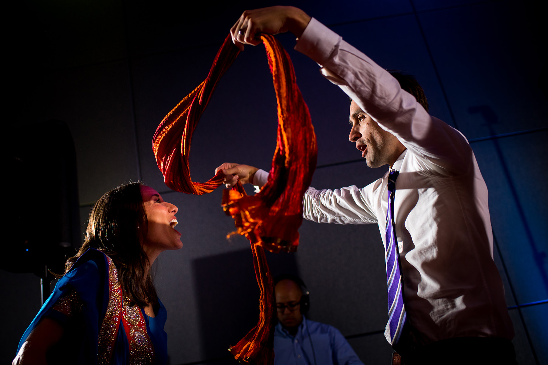 dancing with Indian wedding scarf